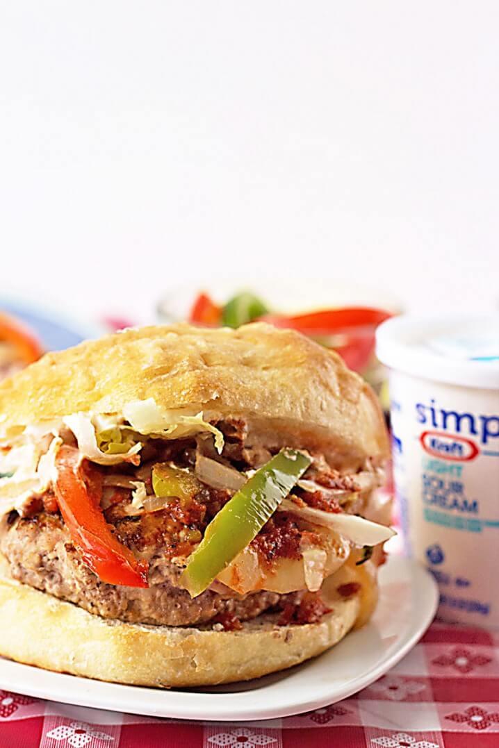 Chicken Fajita Cheeseburger Recipe from ItsYummi.com