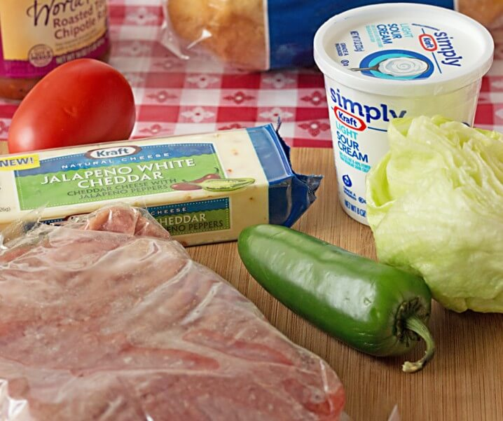 Chicken Fajita Cheeseburger ingredients from ItsYummi.com #SayCheeseburger #shop