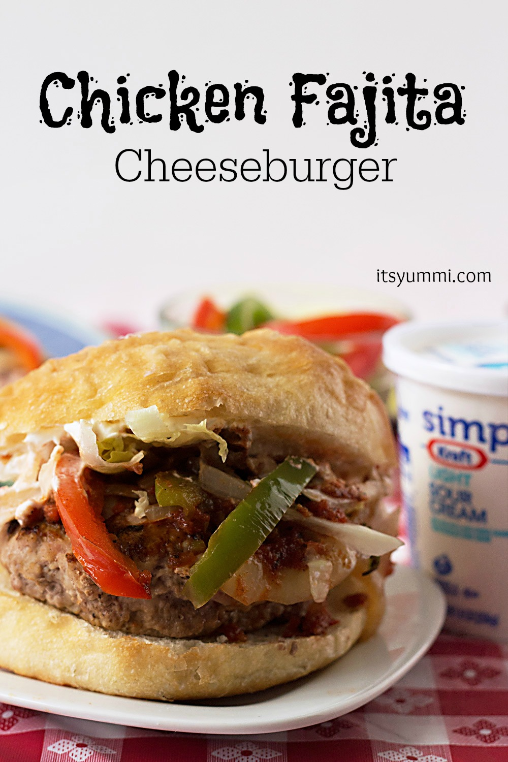 Chicken Fajita Cheeseburger from ItsYummi.com #SayCheeseBurger #shop