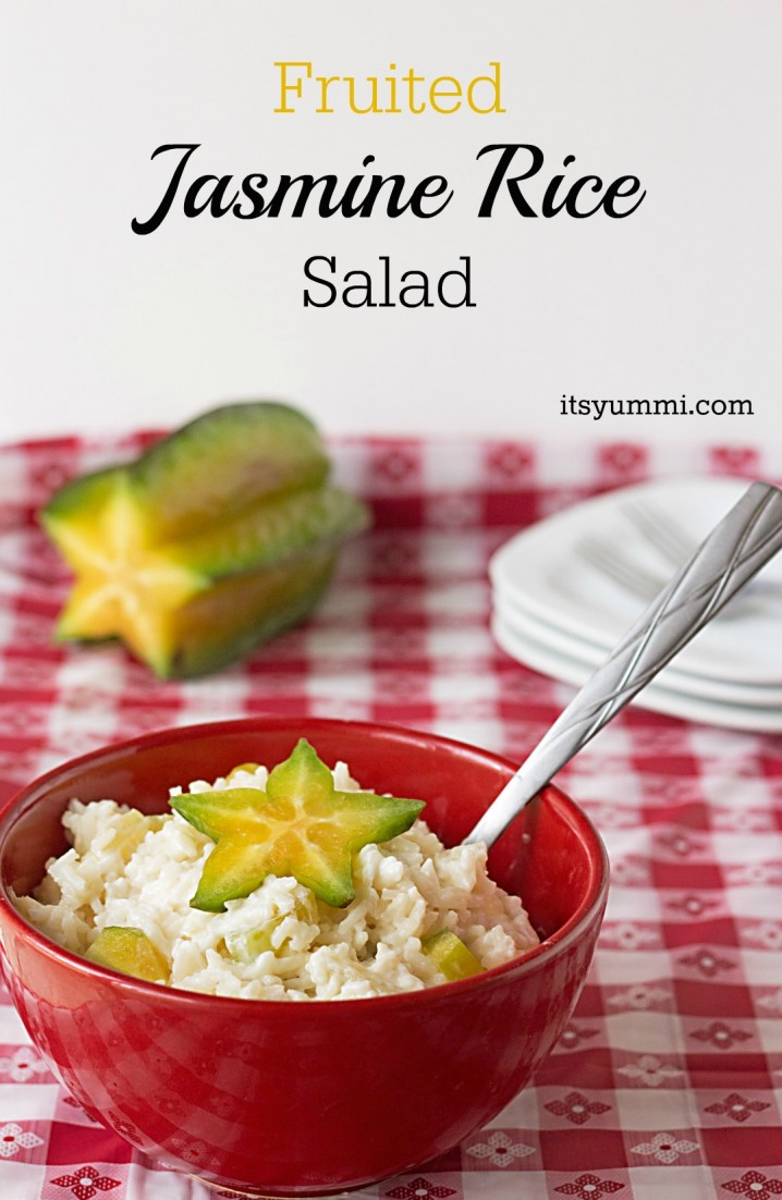 Fruited Jasmine Rice Salad #recipe from ItsYummi.com ~ Just 5 ingredients! #vegetarian