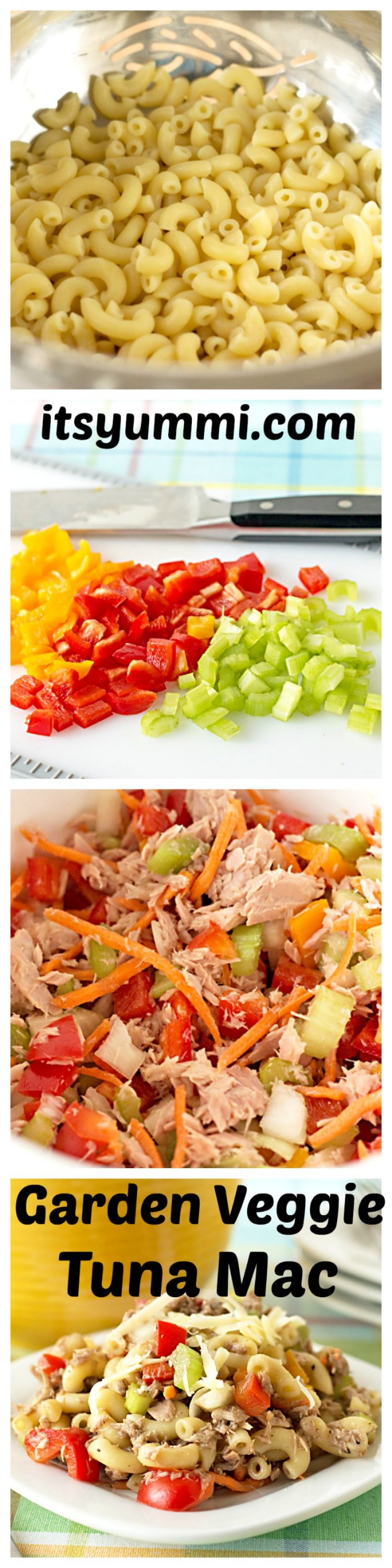 This healthy garden veggie tuna mac salad is loaded with crisp vegetables, lower carb pasta, tuna, and a balsamic vinaigrette (NO MAYO).