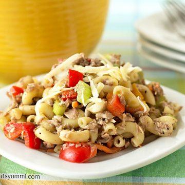 Garden Veggie Tuna Mac Salad from ItsYummi.com
