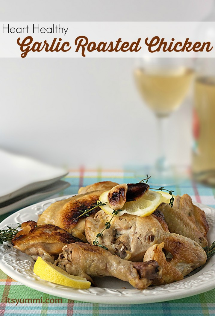 This heart healthy roasted garlic chicken recipe from ItsYummi.com will fill your home with the aroma of fresh rosemary, thyme, and 40 cloves of garlic, and it's SO yummi, too!