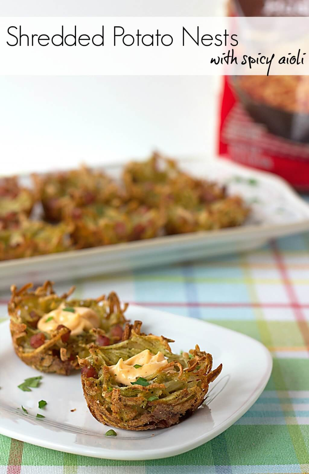 titled image (and shown): Shredded Potato Nests with Spicy Aioli