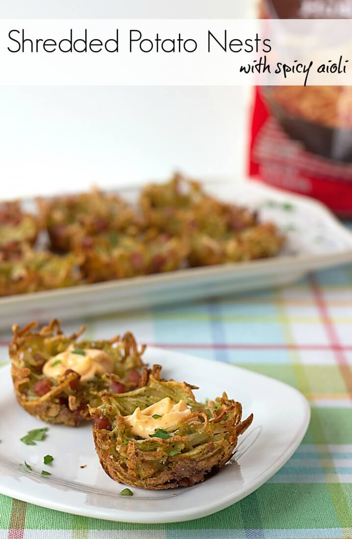 These Shredded Potato Nests with Spicy Aioli from @itsyummi look just like little bird nests! Adorable brunch idea! #OreIdaHashbrown #shop