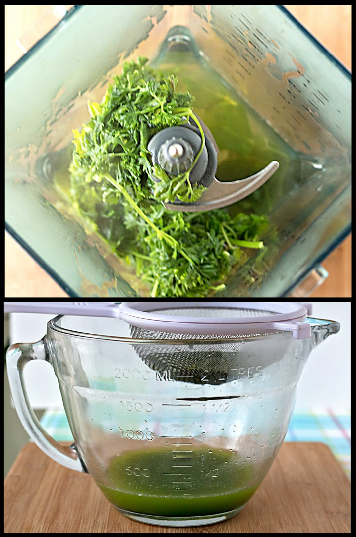 blending fresh parsley into water to create natural green food coloring