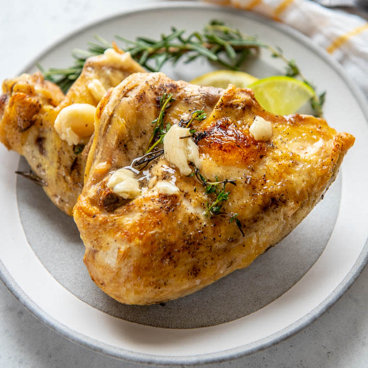 heart healthy oven roasted chicken on a plate
