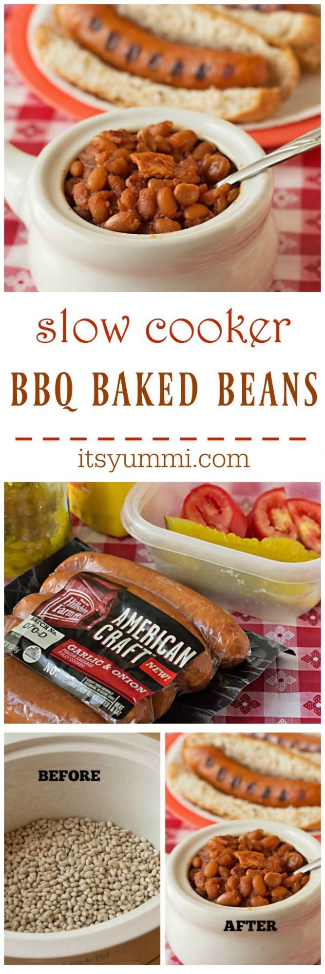 Slow Cooker BBQ Baked Beans Recipe, from @itsyummi at itsyummi.com