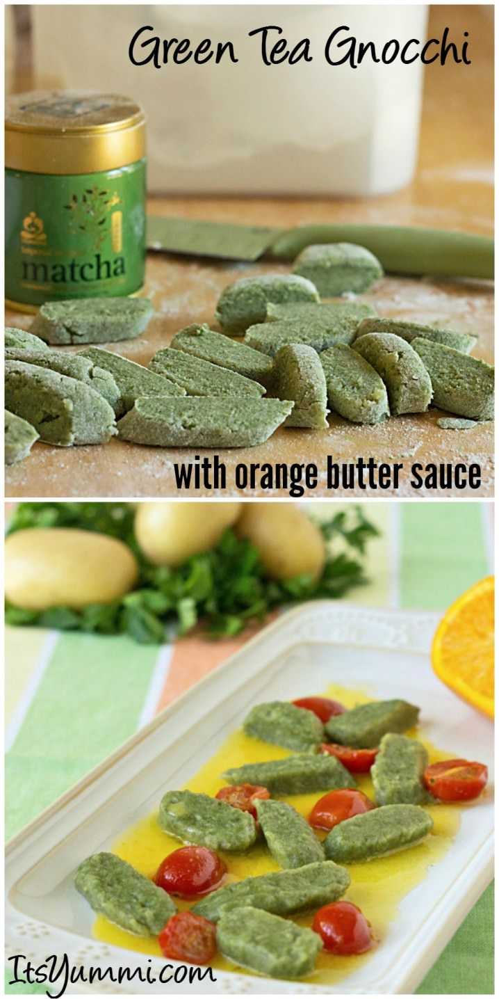 Green Tea Gnocchi with Orange Butter Sauce - This recipe is a perfect introduction to Spring and would make a fun St Patrick's Day meatless dinner!