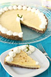 Recipe for Key Lime Cheesecake with a Hazelnut Crust - This easy dessert is tangy, sweet, and crunchy all in one bite. It's SO good!