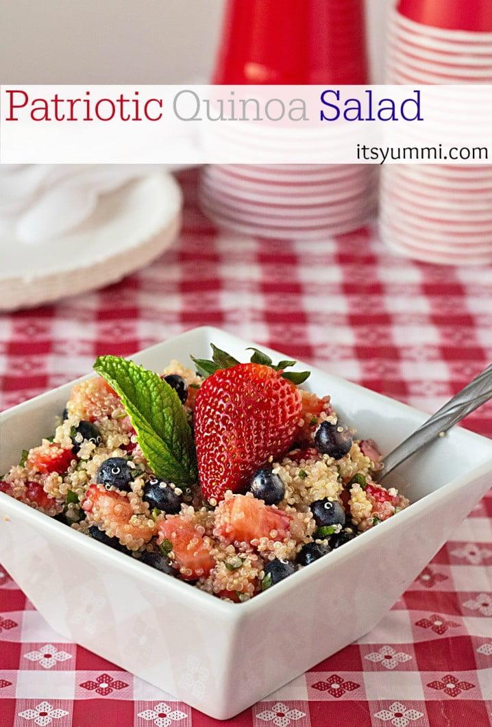Patriotic Low Carb Quinoa Salad Recipe from ItsYummi.com