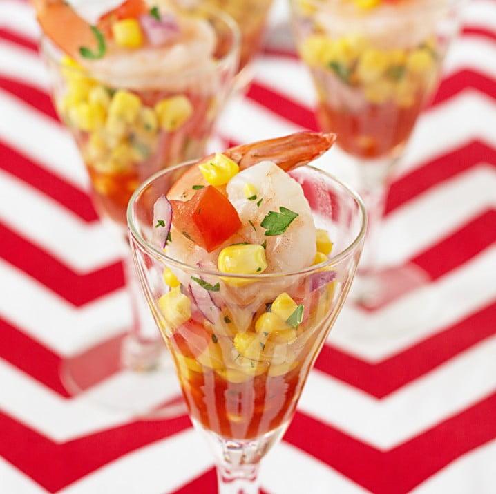 Shrimp and Corn Salsa Shooters from ItsYummi.com #recipe #appetizer