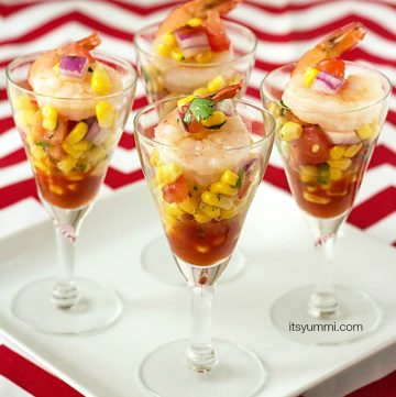 Shrimp and Corn Salsa Shooters from ItsYummi.com - A tasty, slightly spicy appetizer using fresh sweet corn.