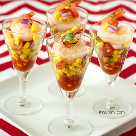 Corn Salsa Shooters with Shrimp