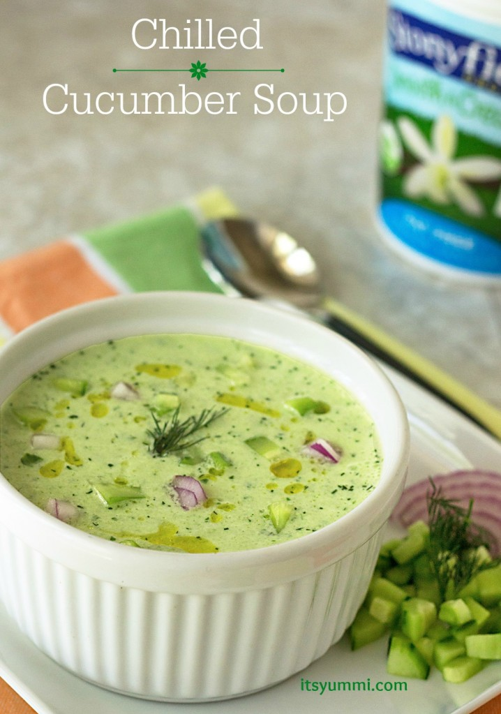 titled photo collage (and shown) Chilled Cucumber Soup