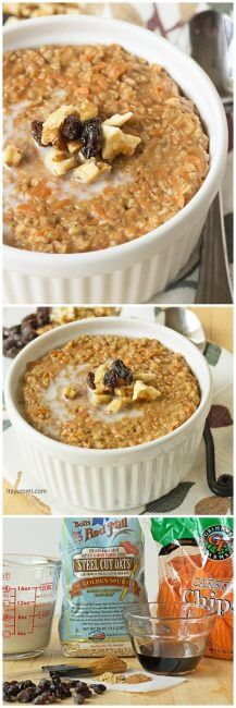 Carrot Cake Steel Cut Oatmeal - Breakfast oatmeal that tastes like carrot cake?! Oh YES, please! Healthy and so good! | itsyummi.com