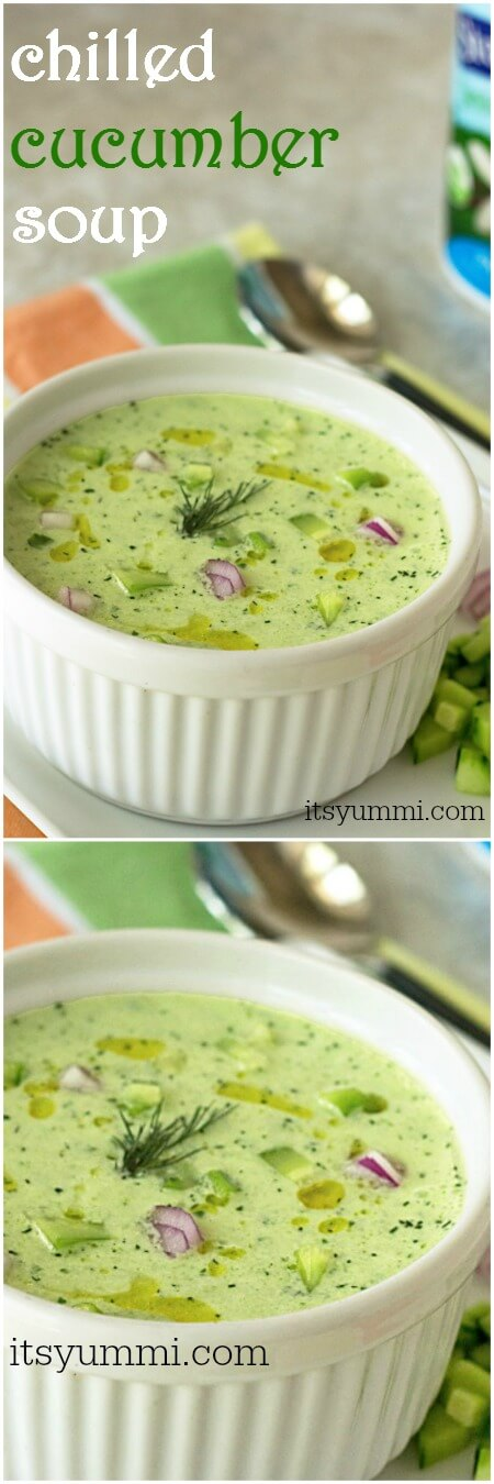 This chilled cucumber soup recipe will be the refreshing star at your summer picnic! | ItsYummi.com | vegetarian | garden vegetables | chilled soup