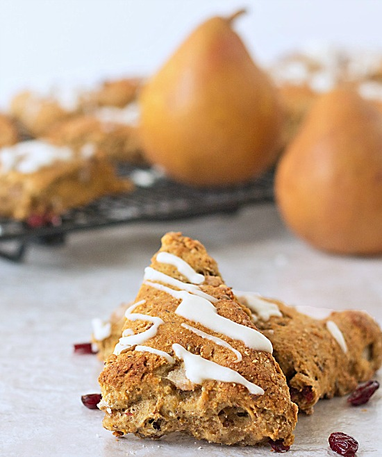 Cranberry Pear Scones with Orange Glaze ~ #recipe from ItsYummi.com