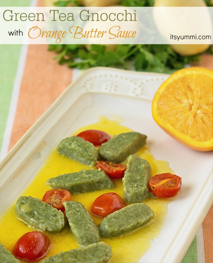 Green Tea Gnocchi with Orange Butter Sauce from ItsYummi.com
