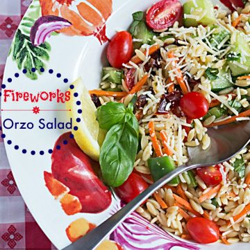 Fireworks Orzo Salad - This side dish recipe has fresh veggies, vibrant colors, and an explosion of flavor, just like fireworks! #MyPicknSave #shop
