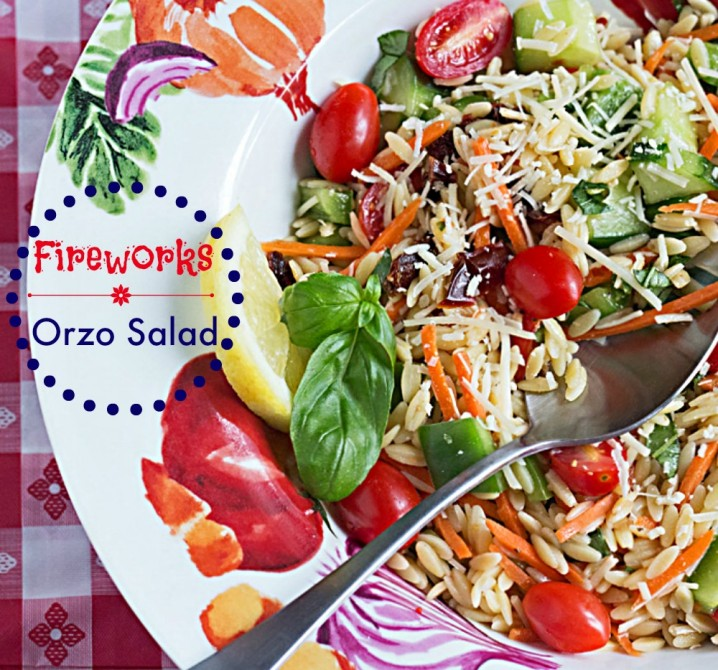 Orzo Summer Vegetable Pasta Salad - This side dish recipe has fresh veggies, vibrant colors, and an explosion of flavor, just like fireworks!