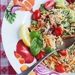 Summer Vegetable Orzo Pasta Salad - The perfect summer side dish recipe for a picnic, potluck, or just a meatless vegetarian side dish.