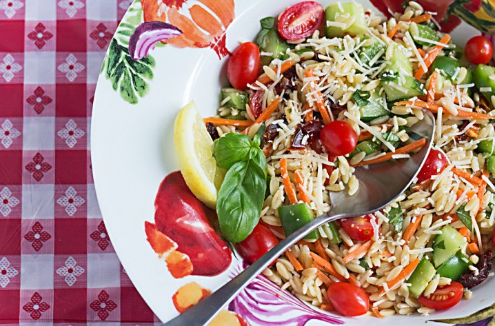 Orzo Summer Vegetable Pasta Salad - The perfect summer side dish recipe for a picnic, potluck, or just a meatless vegetarian side dish.