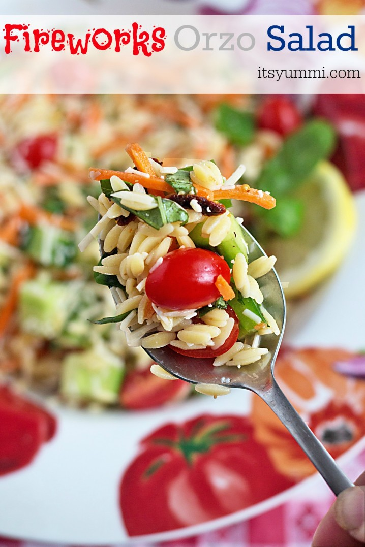 This orzo summer vegetable pasta salad is a side dish recipe with fresh veggies, vibrant colors, and an explosion of flavor, just like fireworks!