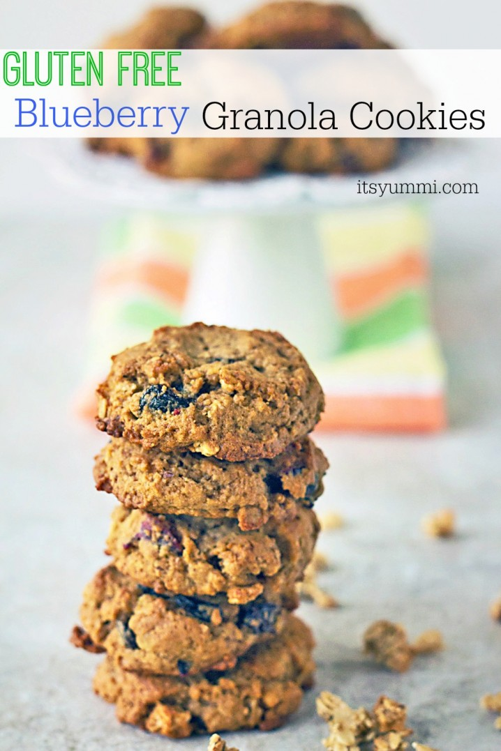 stack of gluten free granola breakfast cookies with dried blueberries and apples