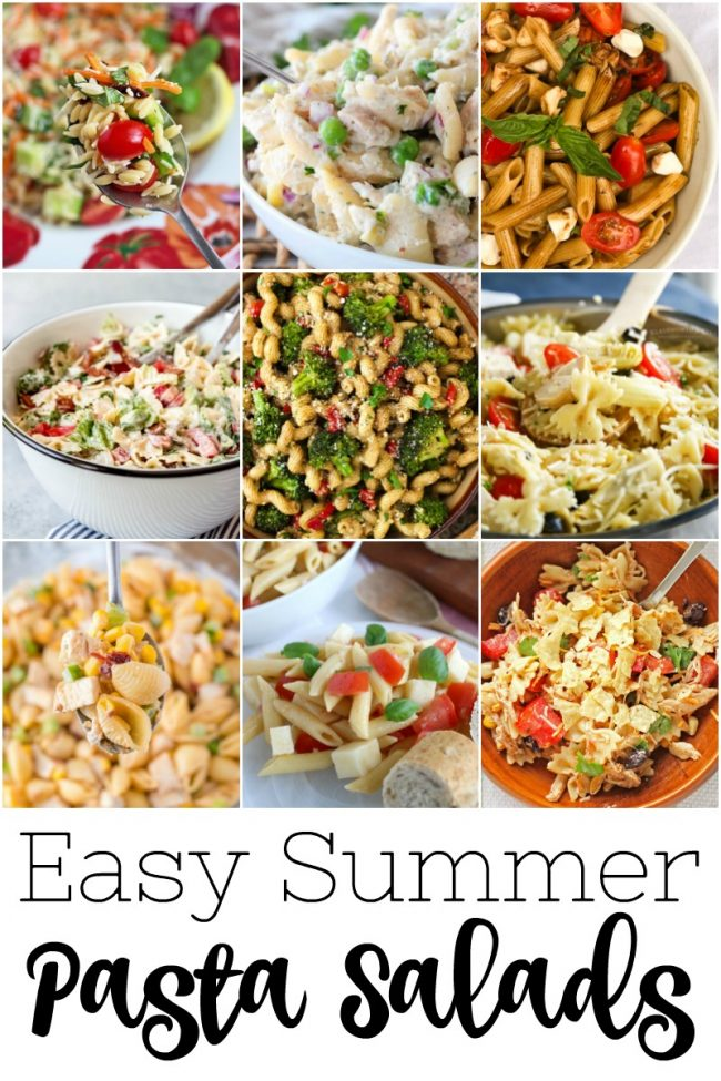 titled photo collage showing 9 easy summer pasta salads
