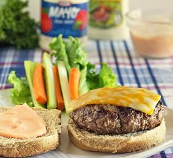 Spicy Ranch Burger topped with cheese and chipotle mayo