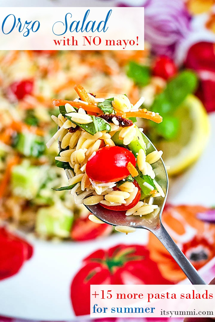 titled photo shows orzo salad with summer vegetables on a spoon
