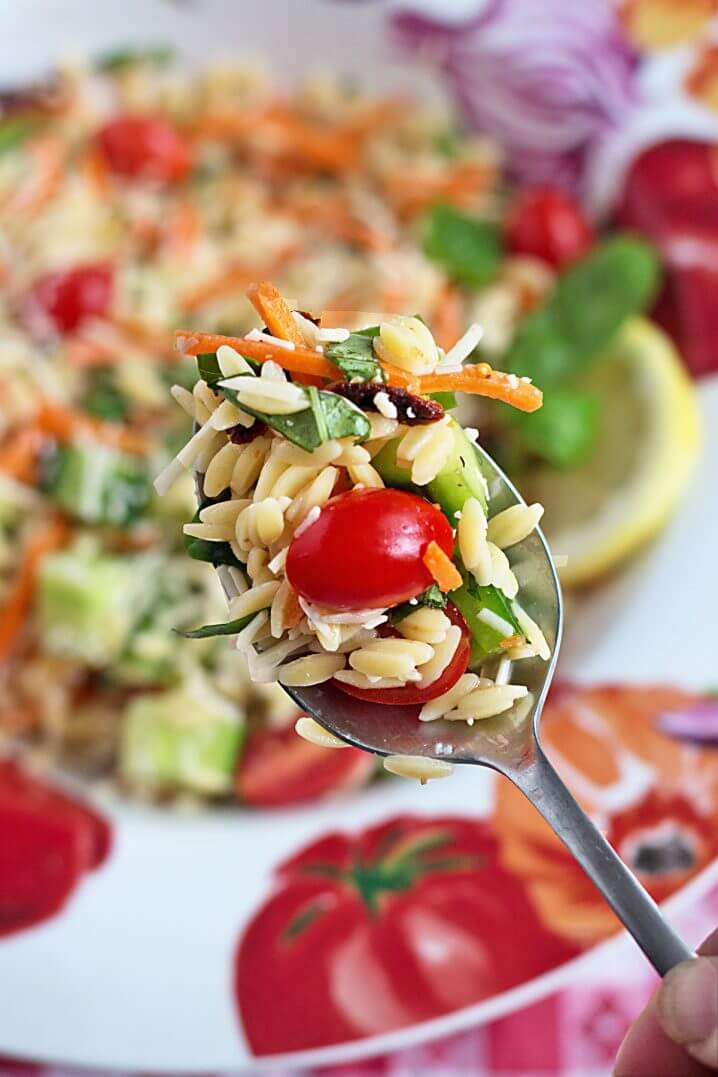 Orzo Summer Vegetable Pasta Salad - The perfect side dish recipe for an outdoor party, picnic, potluck, or every day vegetarian side dish.