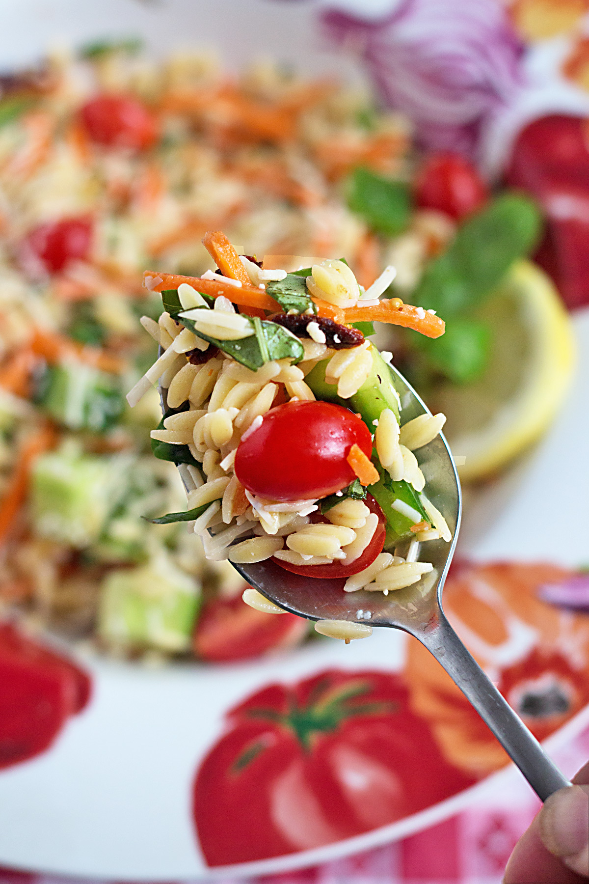 Summer Vegetable Orzo Pasta Salad - This side dish recipe has fresh veggies, vibrant colors, and an explosion of flavor, just like fireworks!