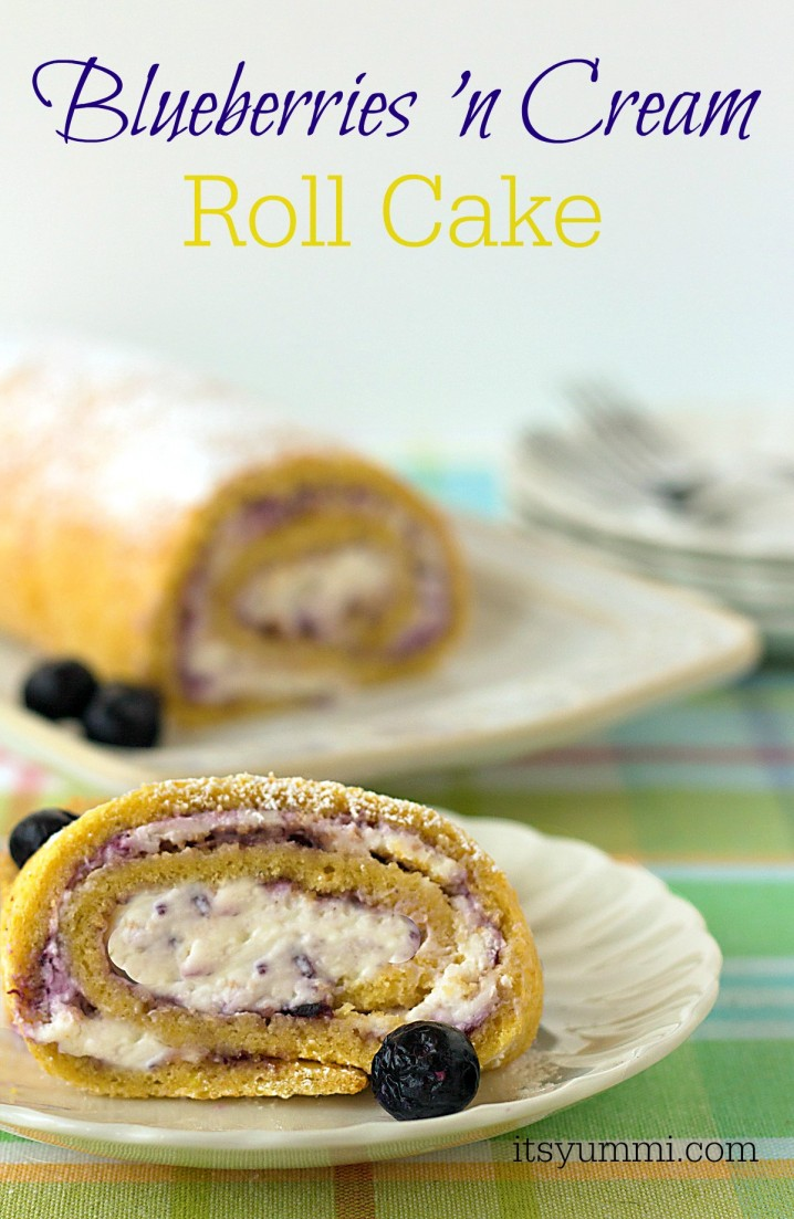 Blueberries and Cream Roll Cake - Moist sponge cake is rolled up around freshly whipped cream and sweet blueberry preserves. | ItsYummi.com