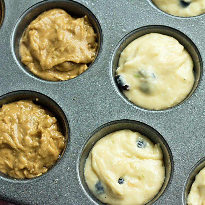 two different types of blueberry muffin batter; one made with white sugar and one made with organic Rapadura (raw sugar)