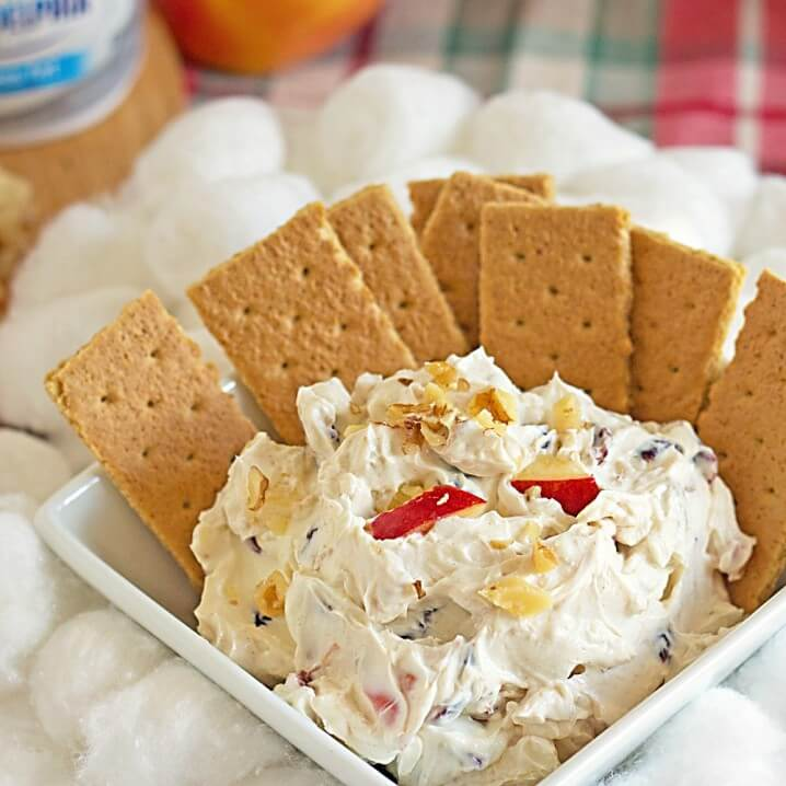 Cranberry Walnut Cinnamon Cream Cheese Dip from @itsyummi - This dip is perfect for a low carb snack or a nice Thanksgiving or Christmas appetizer table. Crisp apples, walnuts, and cranberries are mixed into cinnamon and honey sweetened cream cheese. Kids love this low carb dip recipe!