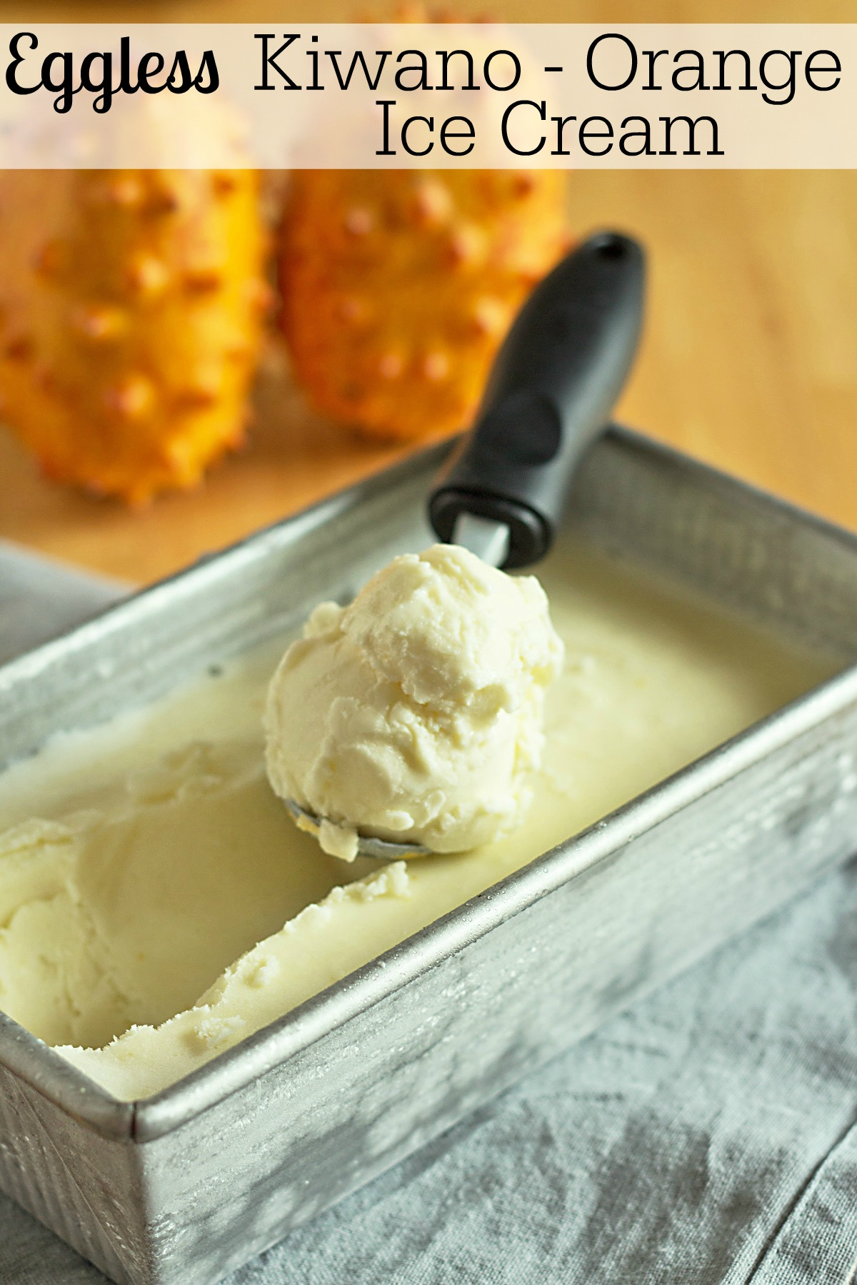 Kiwano (horned melon) and Orange Ice Cream is a homemade eggless ice cream recipe. It has the flavors of an orange Creamsicle bar! #frozendesserts #icecream #creamsicle #recipe