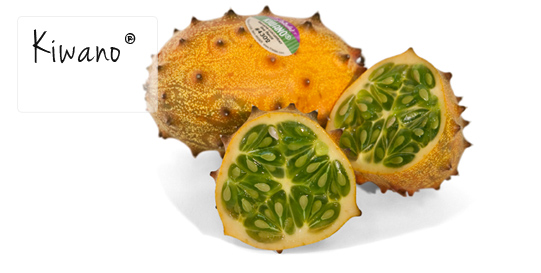 This Kiwano fruit (also called a horned melon), from Friedas.com was used in an eggless ice cream recipe on ItsYummi.com