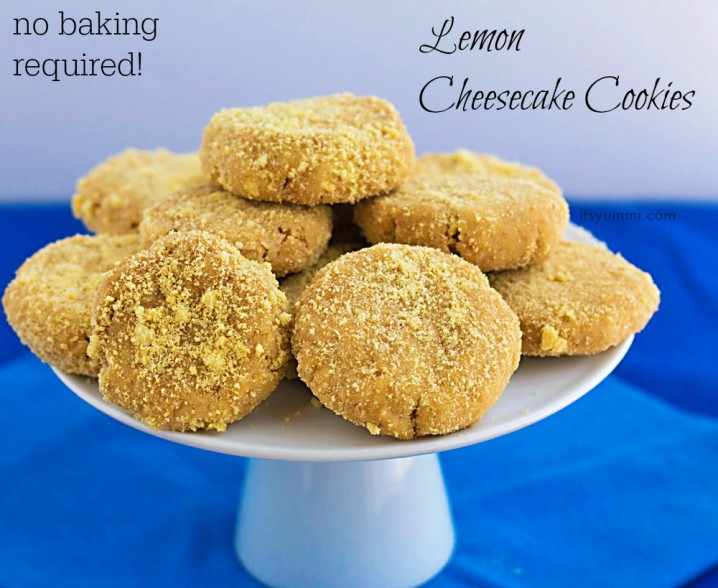 No bake lemon cheesecake cookies - Only 5 ingredients & 10 minutes to make!
