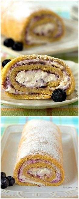 Blueberries and Cream Cake Roll - This easy cake recipe is filled with fresh blueberry preserves and whipped cream. Such an easy dessert recipe! | ItsYummi.com