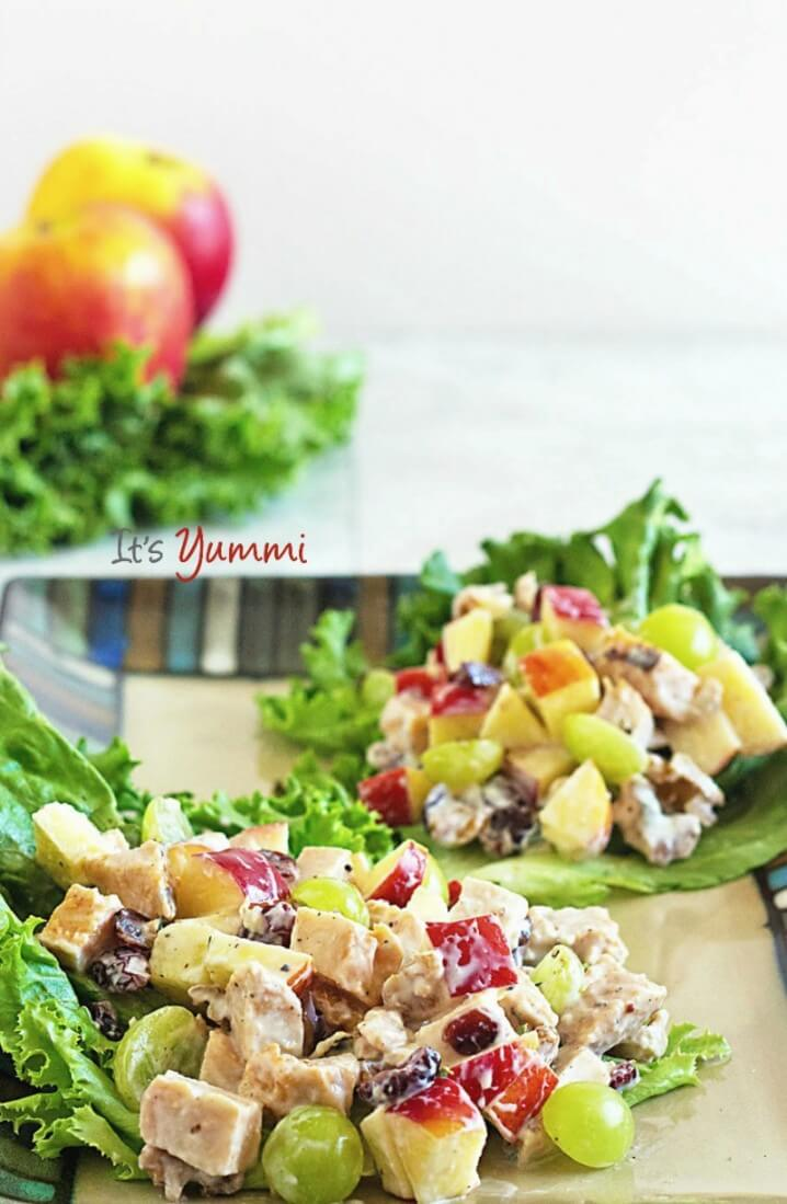 This healthy Waldorf salad has chicken, fresh apples, grapes and dried fruits, crunchy walnuts, and a tangy low-fat yogurt-based dressing. It's the perfect healthy dinner salad. Get the recipe from @itsyummi