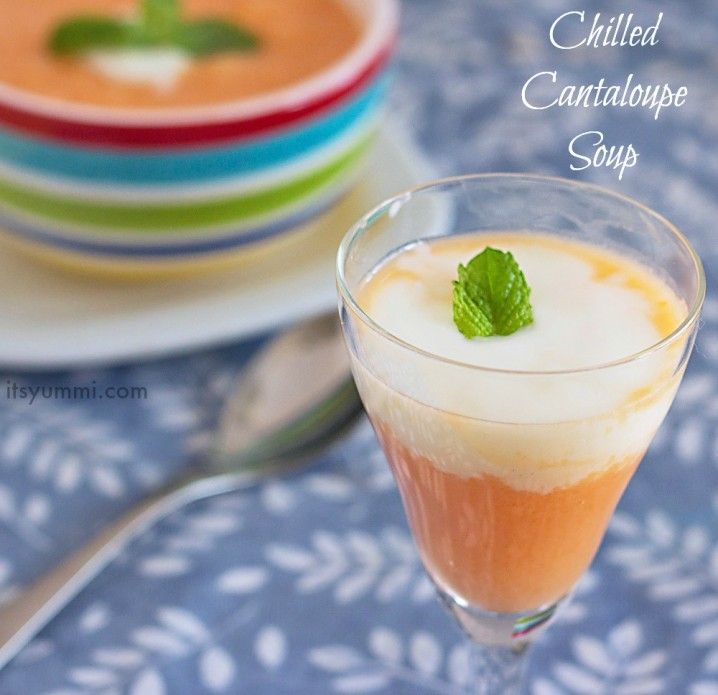 Chilled Cantaloupe Soup topped with vanilla yogurt and fresh mint