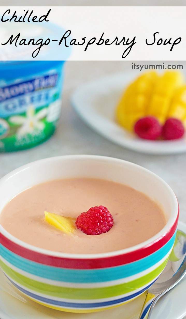 Chilled Mango Raspberry Soup recipe from @itsyummi