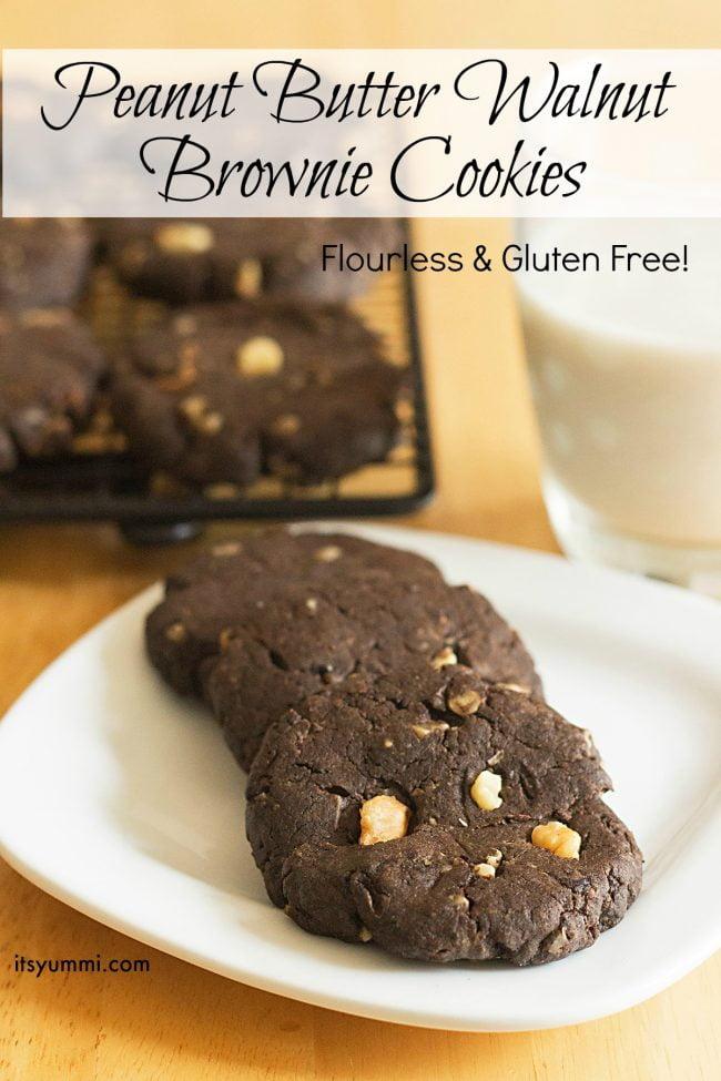 Flourless Peanut Butter Walnut Brownie Cookies from ItsYummi.com