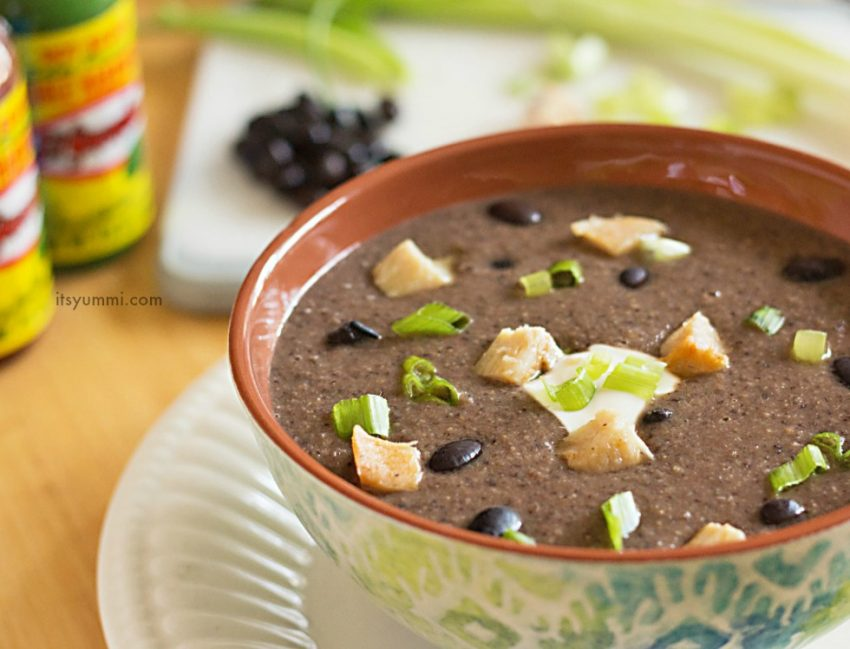 bowl of spicy black bean soup with chicken