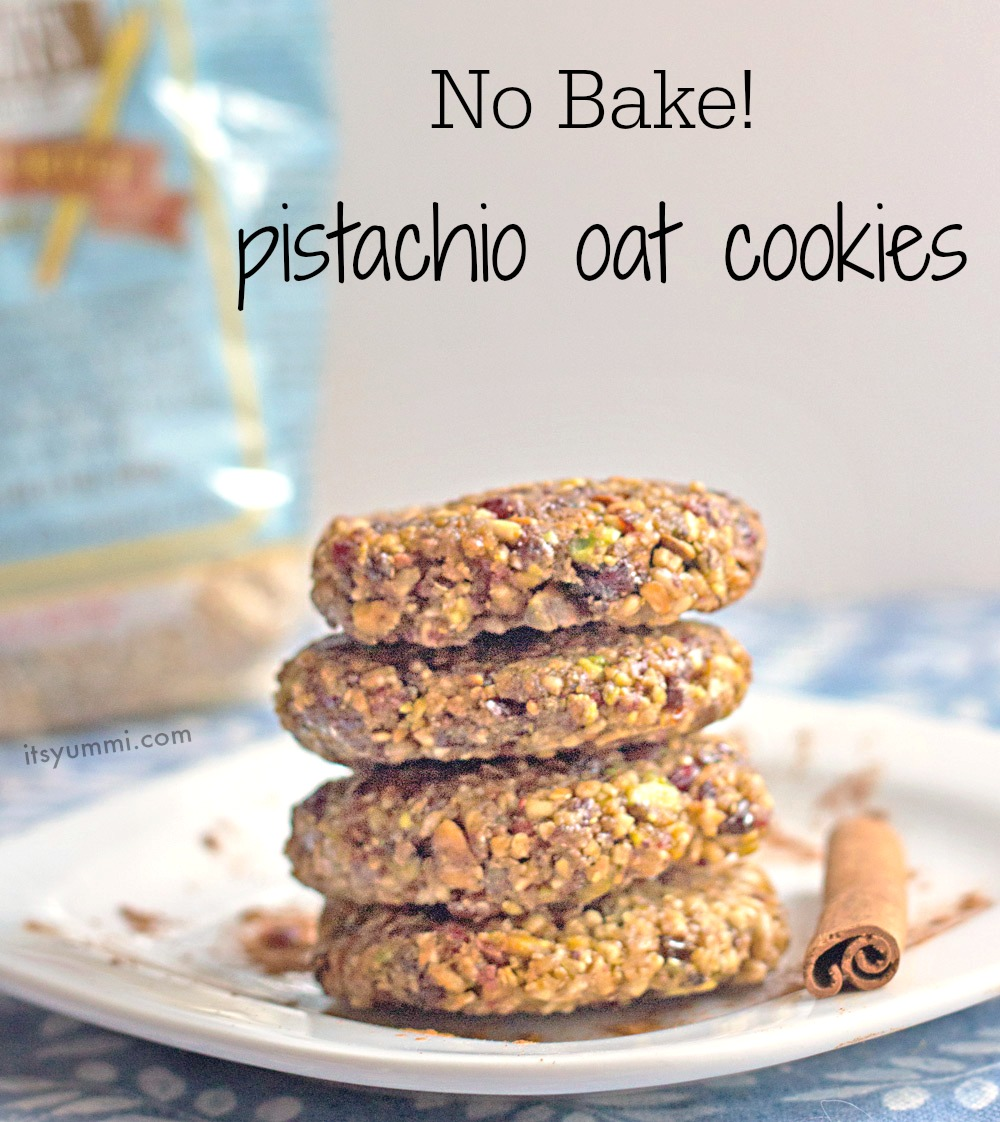 Healthy Pistachio Oat No Bake Cookies