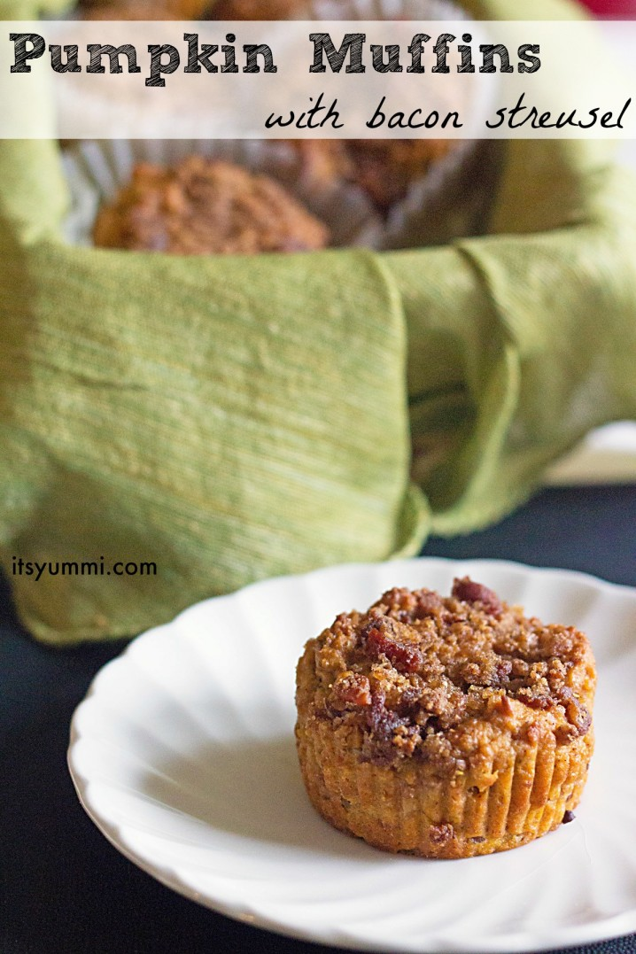 titled image (and shown): Pumpkin Muffins with Bacon Streusel