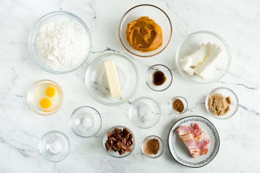 Baking ingredients for the pumpkin bacon muffins
