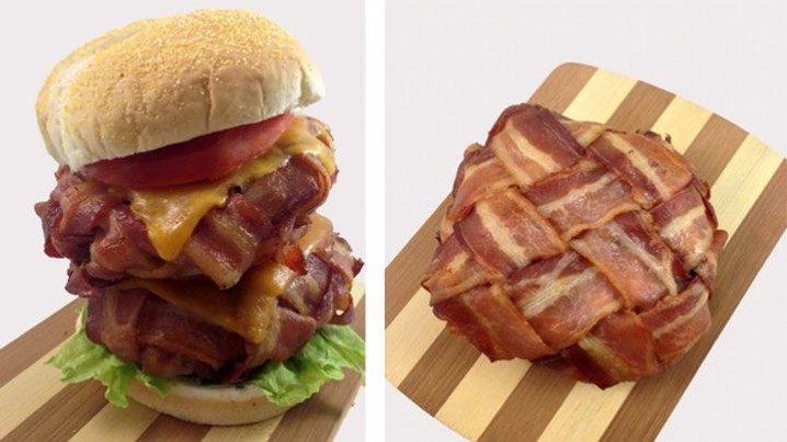 Bacon weave - photo credit to DudeFoods.com - check out their amazing Bacon Weave Double Cheeseburger! http://dudefoods.com/bacon-weave-double-cheeseburger/